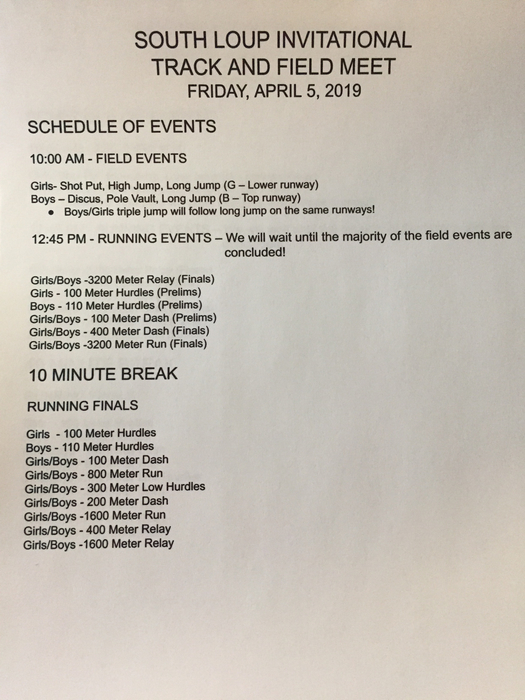 South Loup Invite Schedule