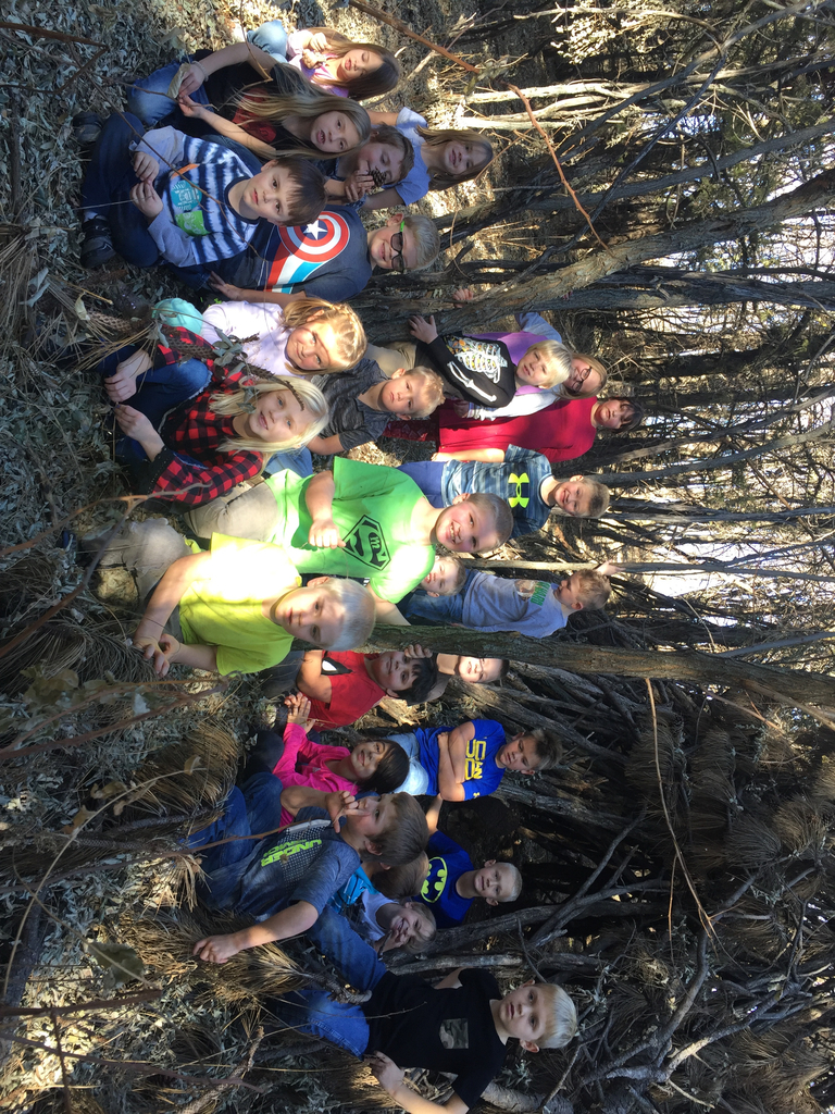 Kindergartens and 1st graders enjoy the weather on Friday by taking a nature walk during PE.